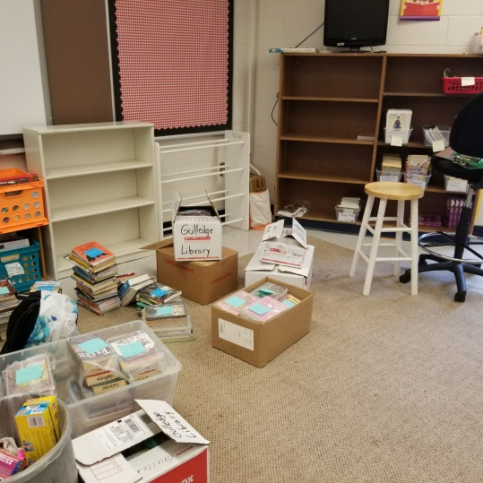 The beginning of a new classroom library!